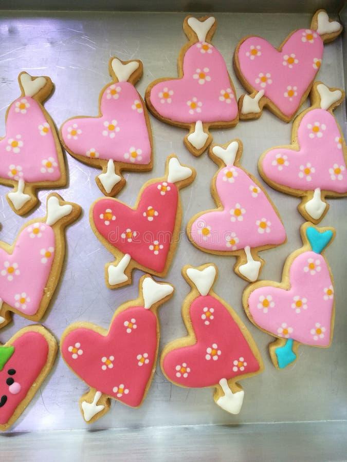Plan rapproché en forme de coeur de biscuits photographie stock libre de droits