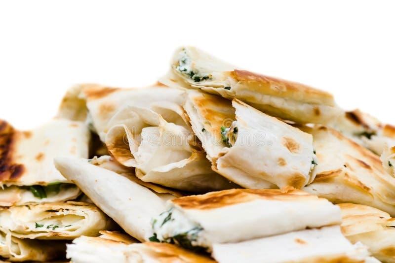 Plan rapproché frais d'apéritifs de sandwich Petit lavash photo stock
