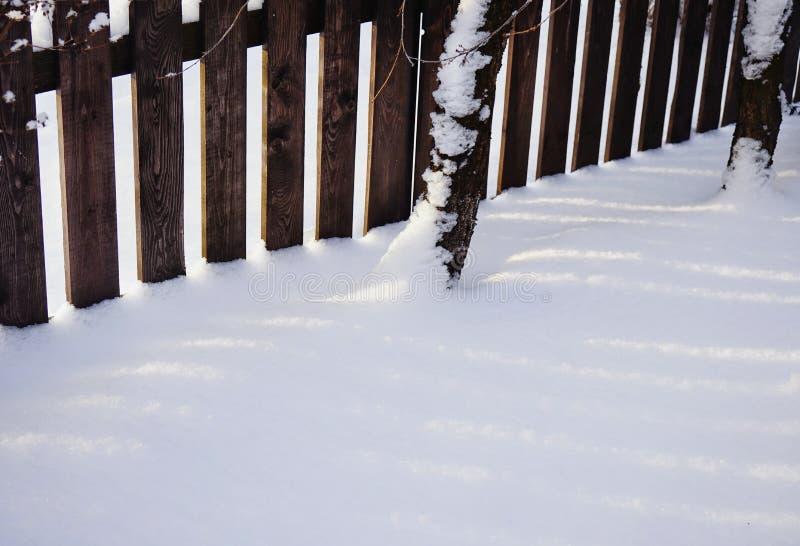 plan rapproché froid de nature d'hiver de jour de barrière d'arbre de lumière du soleil de neige en bois d'ombre photos stock
