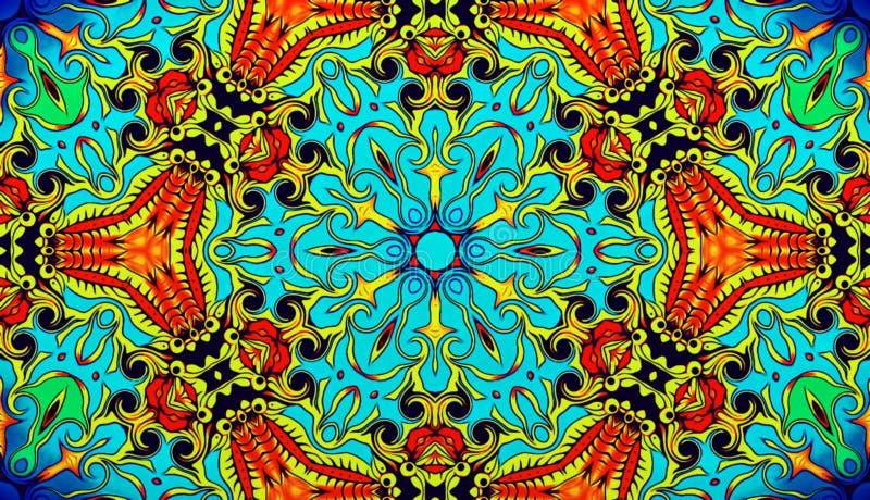 Plan rapproché Illustration d'un fond abstrait, un modèle décoratif symétrique psychédélique Mosa oriental traditionnel illustration stock