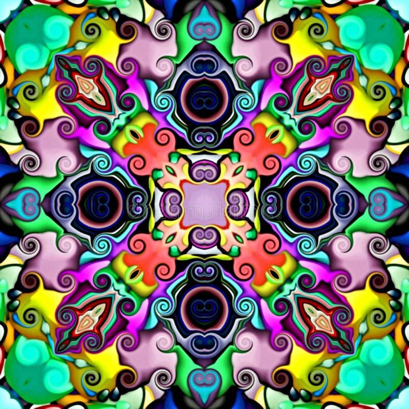 Plan rapproché Illustration d'un fond floral abstrait, ornement symétrique psychédélique Mosaïque orientale traditionnelle FO illustration de vecteur