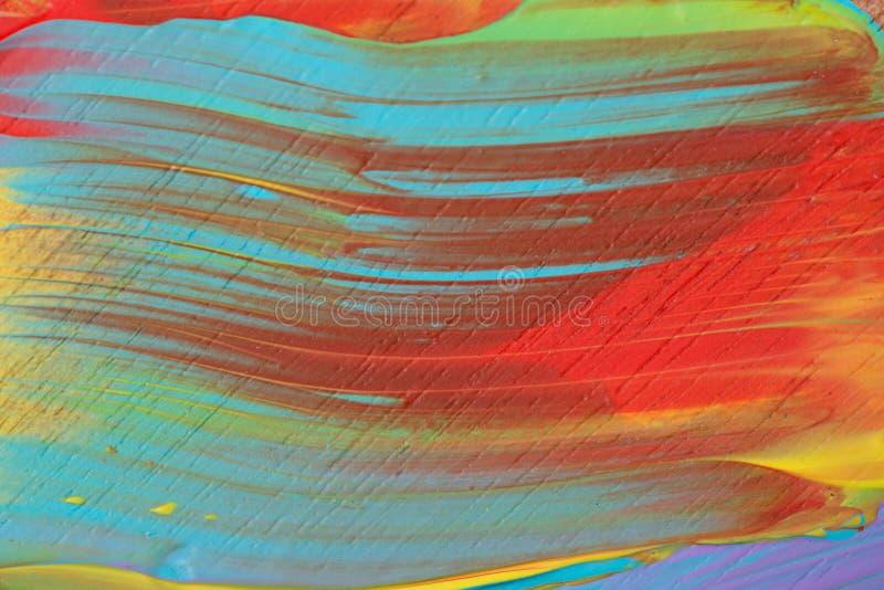 Plan rapproché multicolore peint par acrylique abstrait photos stock