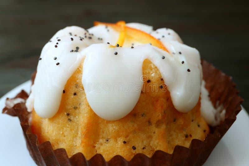 Plan rapproché Poppy Seed Yogurt Cake orange exquise du plat blanc photos libres de droits