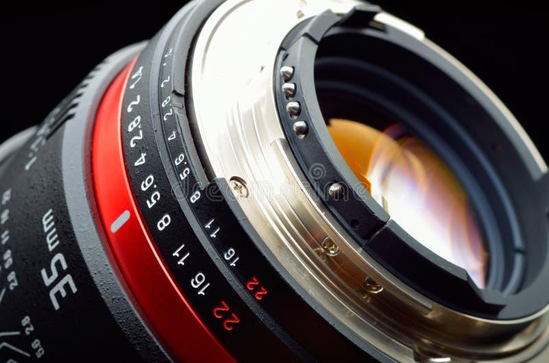Plan rapproché professionnel de lentille de photo photographie stock