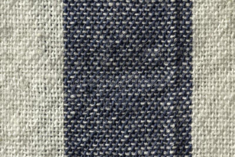 plan rapproché rayé blanc et bleu de macro de tissu de coton images stock