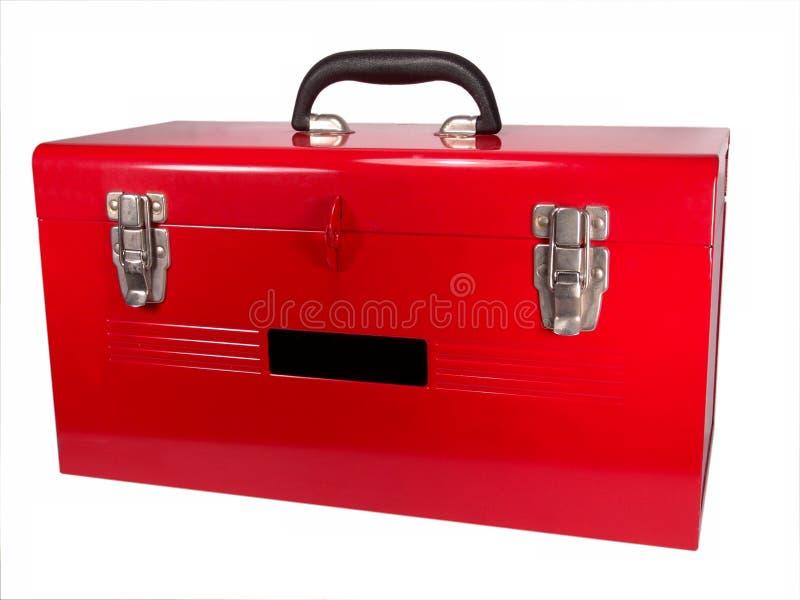 Plan rapproché rouge d'isolement de boîte à outils photo stock