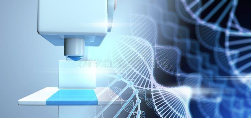 Plan rapproché scientifique de microscope des molécules d'ADN illustration stock