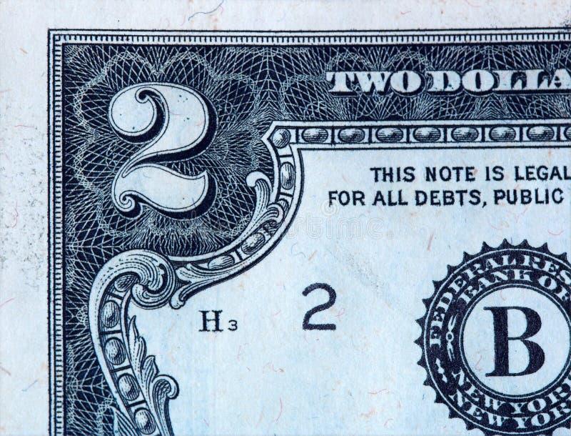 Plan rapproché sur billet de deux dollars A photographie stock