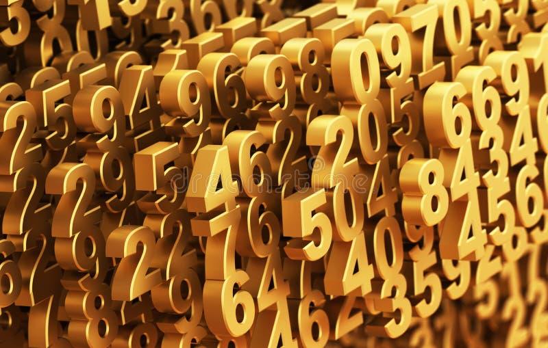 Plan rapproché sur des nombres d'or se composants de Digital Matrix illustration libre de droits