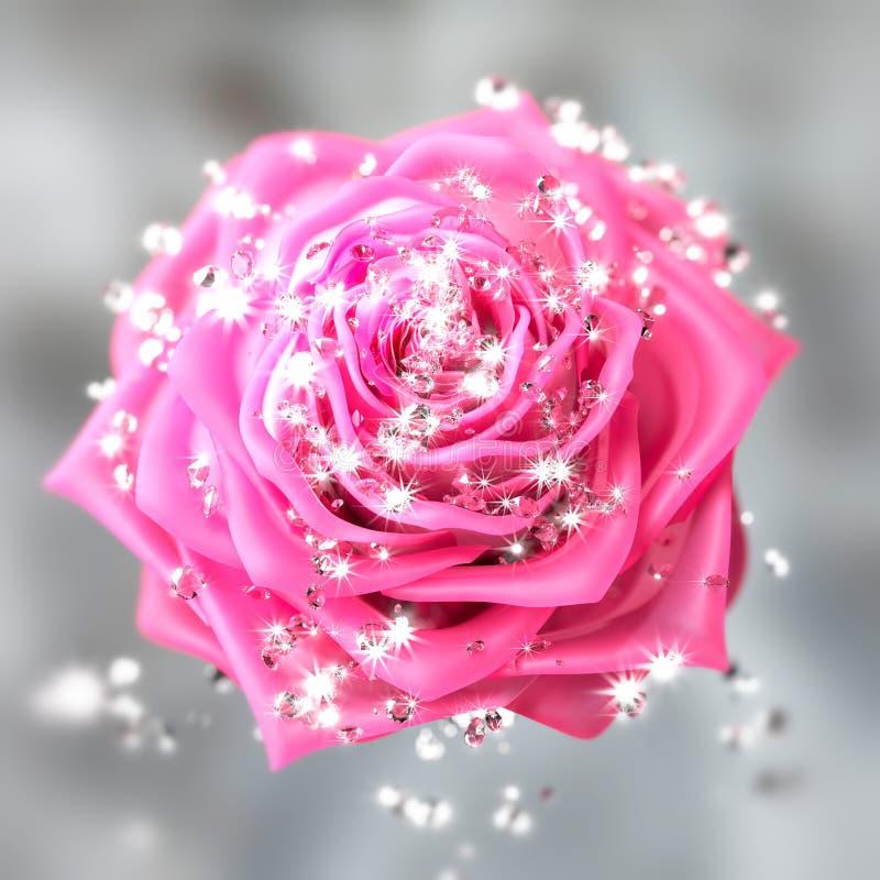 Plan rapproché sur une fleur rose avec des diamants illustration libre de droits