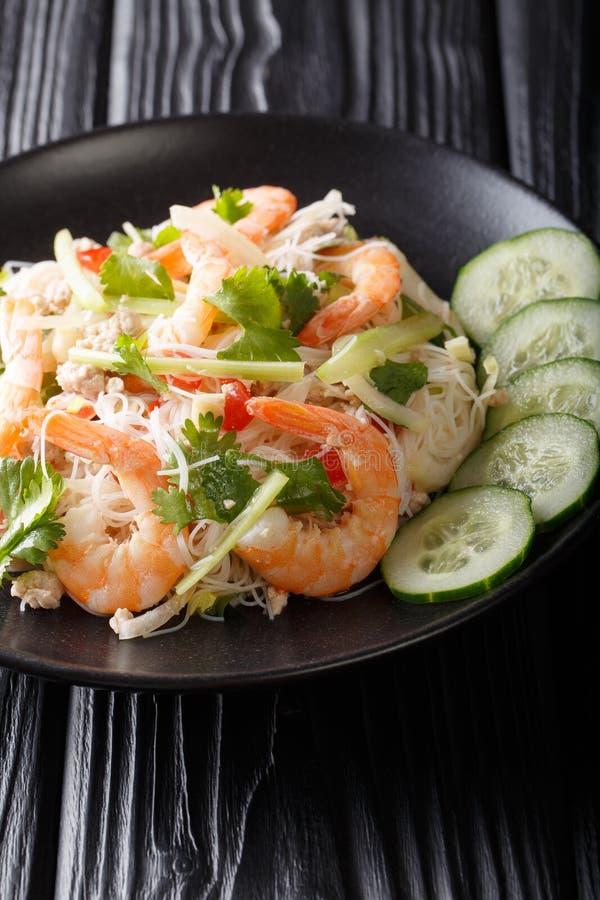 Plan rapproché traditionnel de salade de Yum Woon Sen d'un plat Type tha? vertical image stock