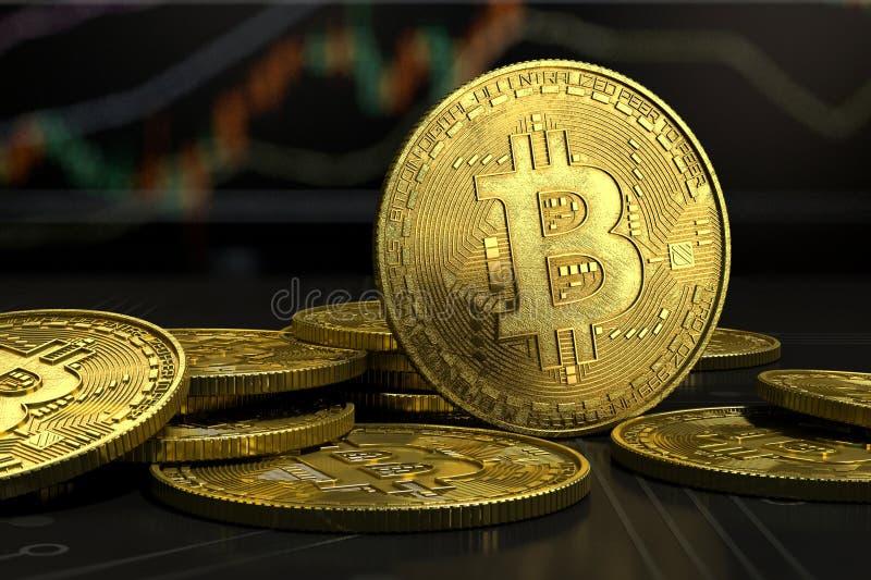 Plan rapproché virtuel d'argent de Bitcoin d'or sur le fond de diagramme images stock