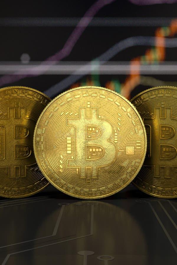 Plan rapproché virtuel d'or de vue de face d'argent de Bitcoin photo libre de droits