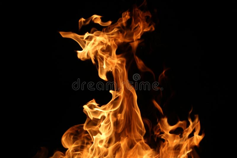 Plan rapproch? d'un grand feu Planches en bois au feu Le feu est allum? pendant la nuit photographie stock libre de droits