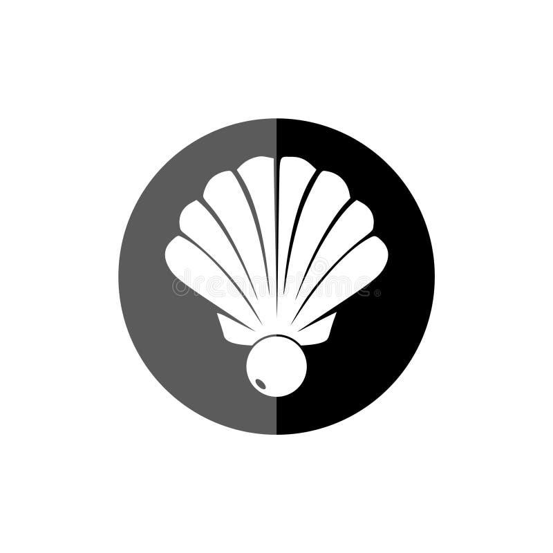 Plan rapproch? de perle et ic?ne ou bouton de Shell illustration libre de droits