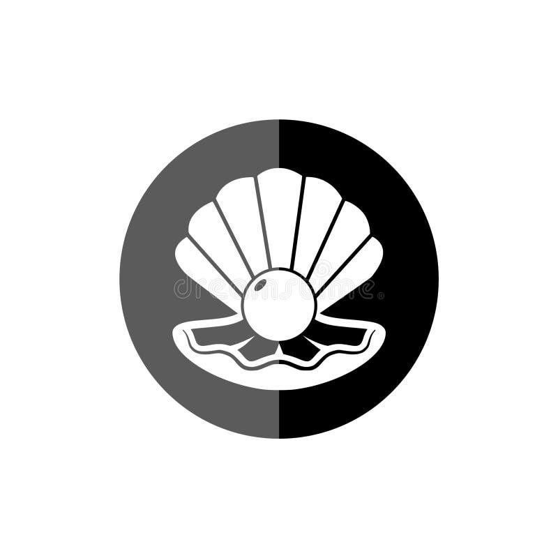 Plan rapproch? de perle et ic?ne ou bouton de Shell illustration stock