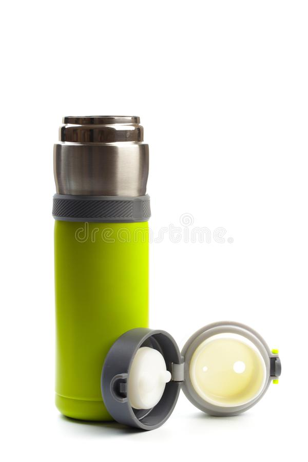 Plan rapproch? thermo inoxydable vide de bouteille d'eau d'isolement sur le fond blanc Photographie de studio - image photographie stock libre de droits