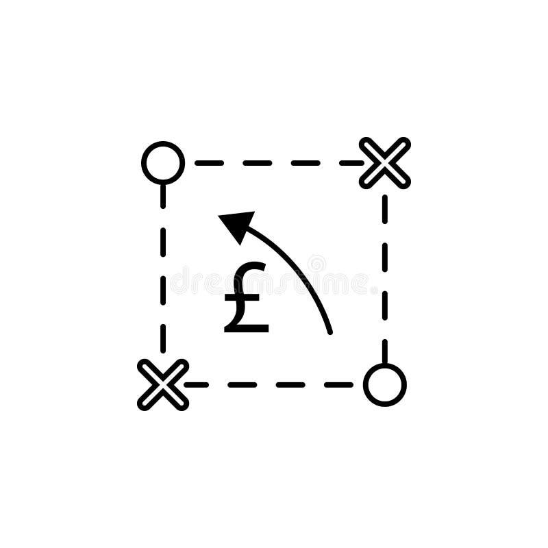 Plan, regeling, pond, pijlpictogram Element van financiënillustratie Tekens en symbolen het pictogram kan voor Web, embleem, mobi vector illustratie