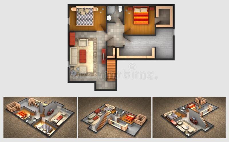 Plan rendu de maison et trois vues isométriques de section illustration stock