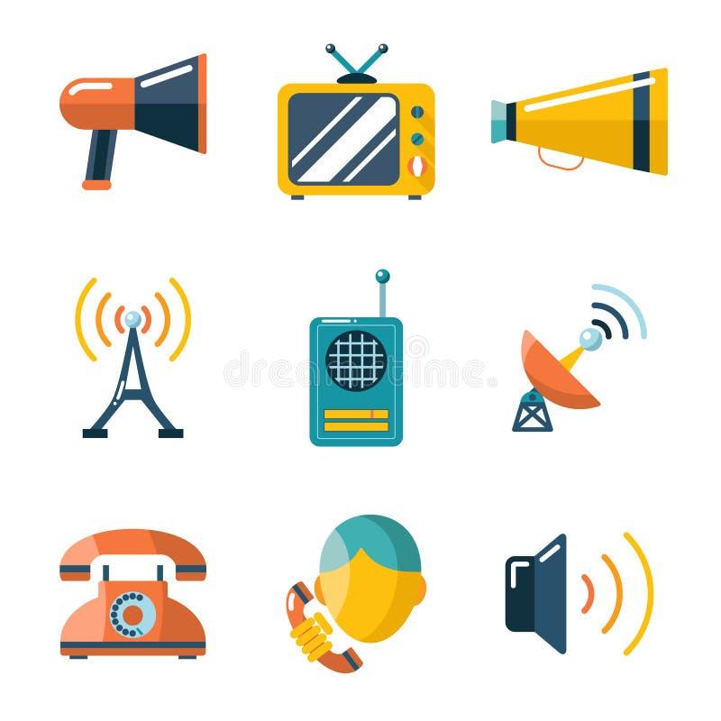 Plan rengöringsduk för massmedia för information om kommunikationsaffär royaltyfri illustrationer