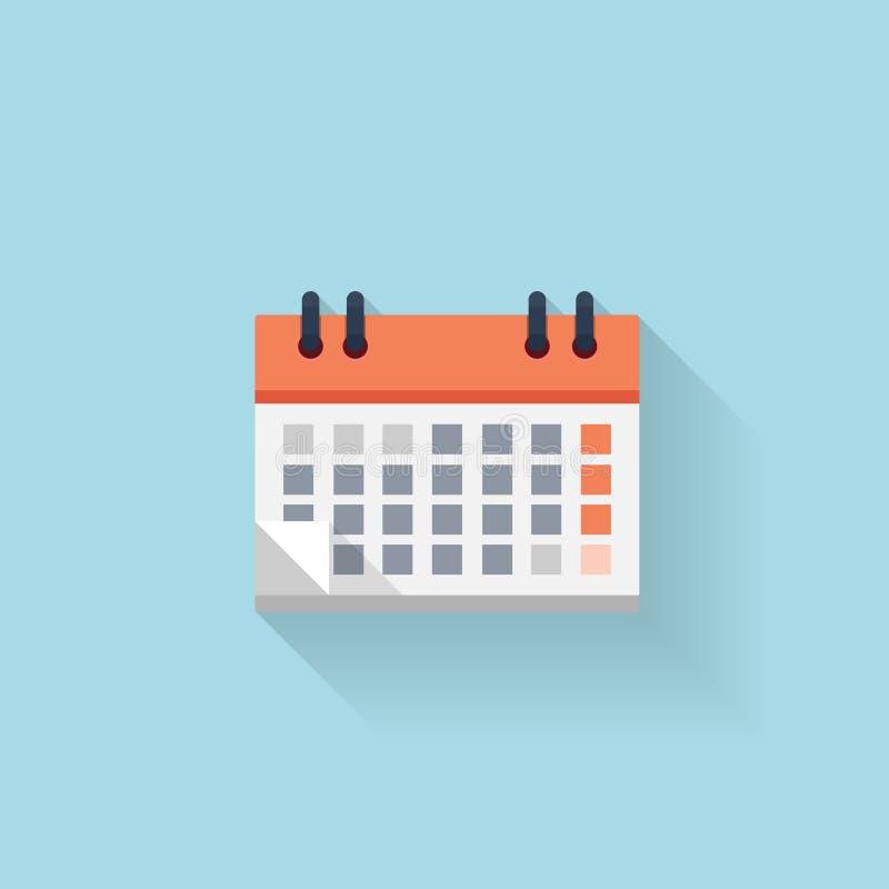 Plan rengöringsdukinternetsymbol kalender Datum och tid vektor illustrationer