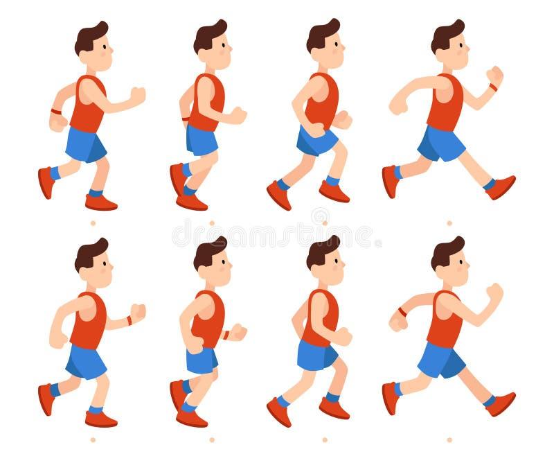 Plan rinnande man Idrotts- följd för ramar för pojkekörningsanimering Löpareman i träningsoverallen, vektor för benanimeringteckn royaltyfri illustrationer