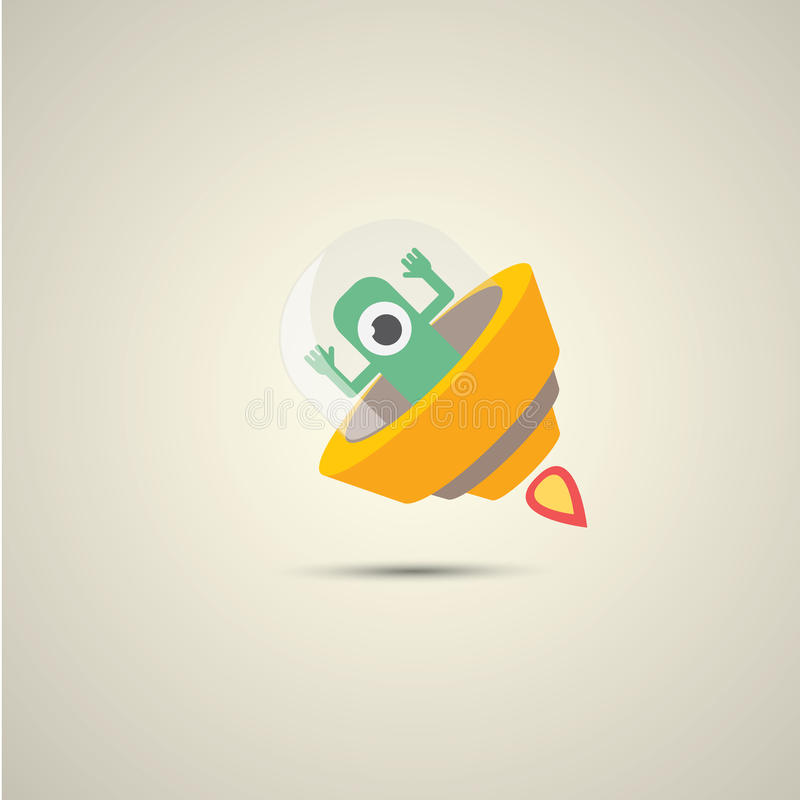 Plan rolig orange främmande rymdskepplogo för vektor vektor illustrationer