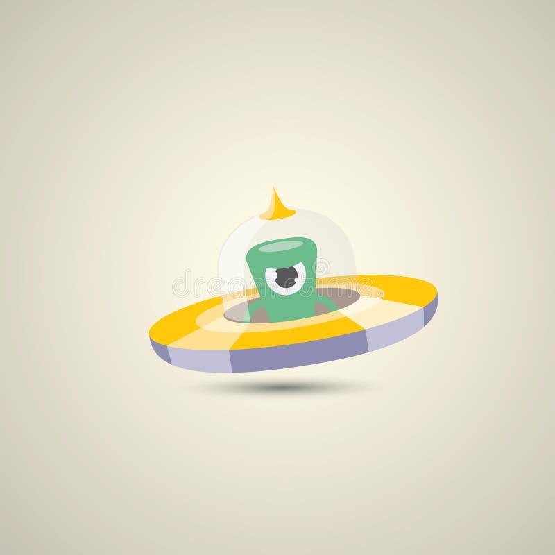 Plan rolig orange främmande rymdskepplogo för vektor royaltyfri illustrationer