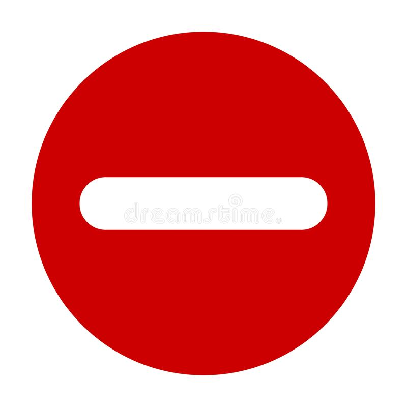 Plan runda negativ den röda symbolen för tecken, knapp Negativt symbol som isoleras på vit bakgrund vektor illustrationer