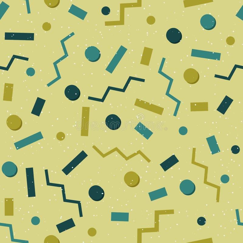 Plan sömlös geometrisk modell på den gröna substraten Abstrakta former - rektanglar, cirklar, sicksackar av olika färger vektor illustrationer