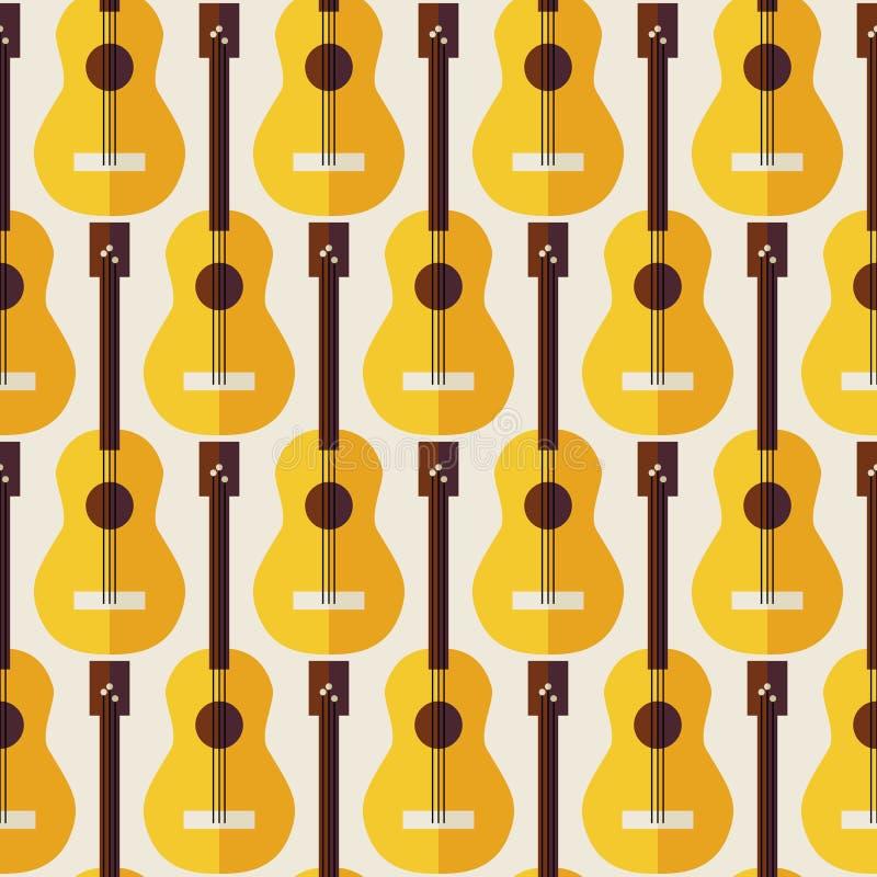 Plan sömlös gitarr för instrument för bakgrundsmodellmusik stock illustrationer
