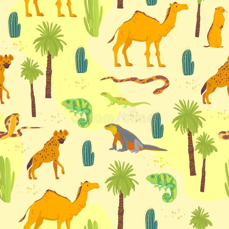 Plan s?ml?s modell f?r vektor med utdragna ?kendjur f?r hand, reptilar, kaktus, palmtr?d som isoleras p? gul bakgrund royaltyfri illustrationer