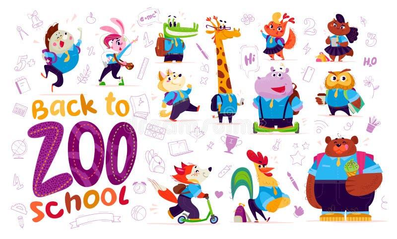 Plan samling för vektor av lyckliga roliga djura studenter stock illustrationer