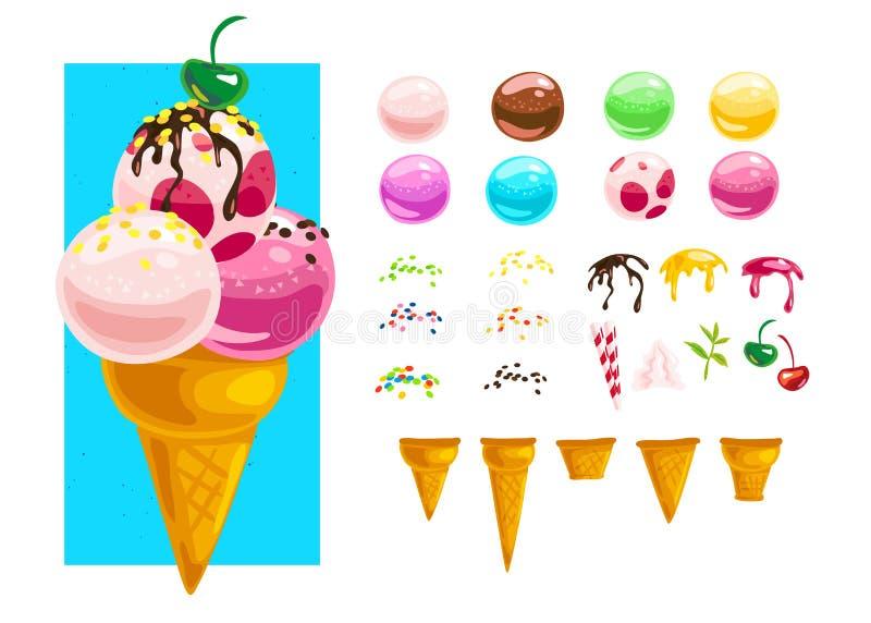 Plan samling för vektor av smakliga söta färgrika glasskottebeståndsdelar som isoleras på vit bakgrund stock illustrationer