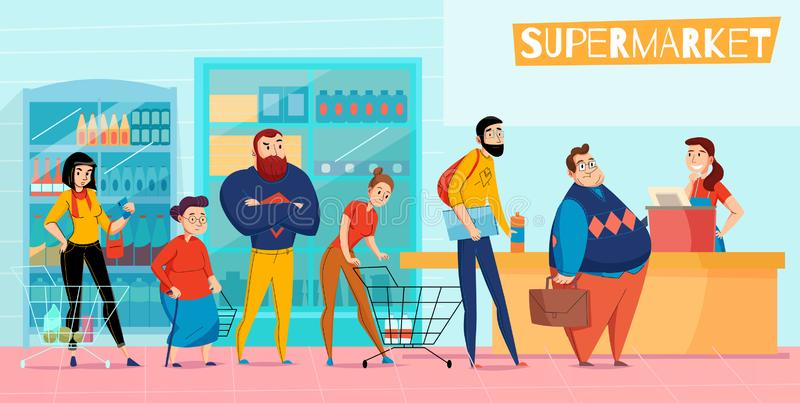 Plan sammansättning för supermarketkö vektor illustrationer