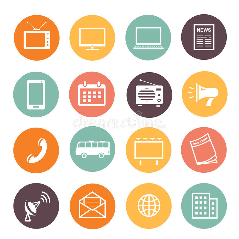 Plan service för utveckling för rengöringsduk för symboler för designadvertizingbeståndsdelar, socialt marknadsföra för massmedia royaltyfri illustrationer