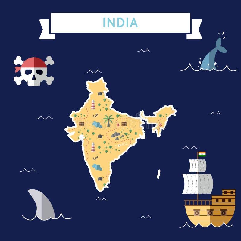 Plan skattöversikt av Indien vektor illustrationer