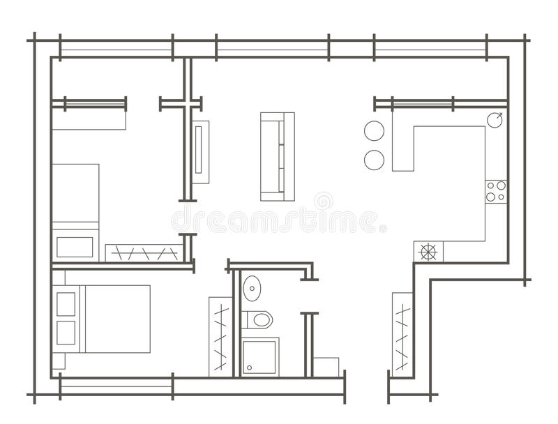 Download Plan Sketch Of Two Bedroom Apartment Stock Vector   Image: 57872517