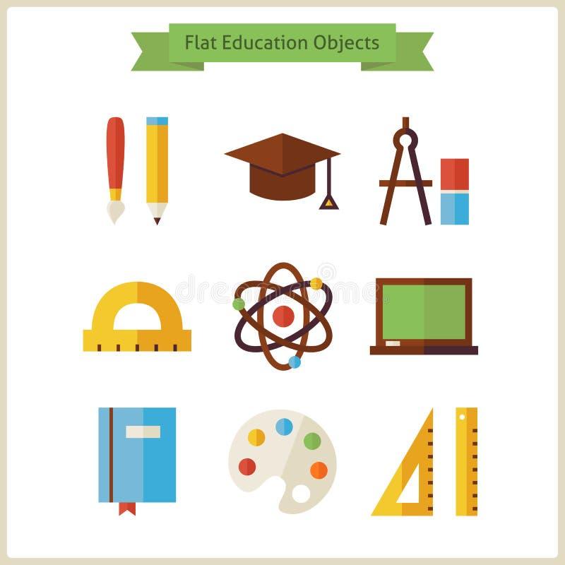 Plan skola- och utbildningsobjektuppsättning vektor illustrationer