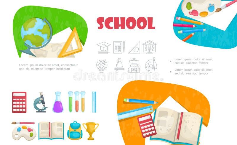 Plan skolabeståndsdeluppsättning vektor illustrationer