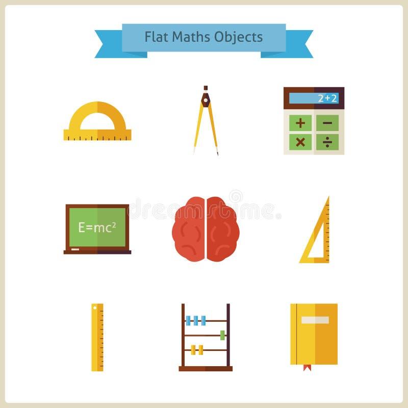 Plan skolamatematik och fysikobjektuppsättning stock illustrationer
