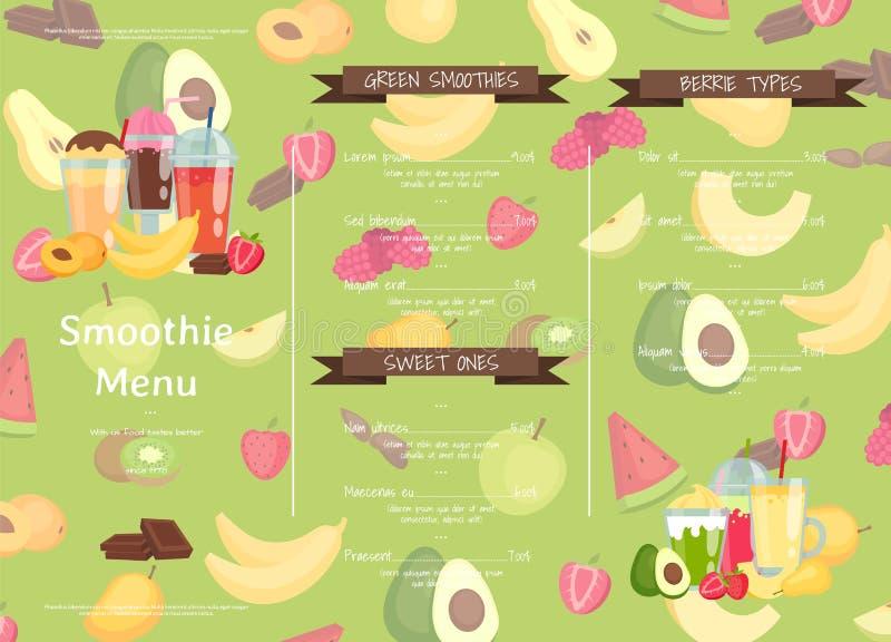 Plan smoothiekafé för vektor eller illustration för restaurangmenymall stock illustrationer