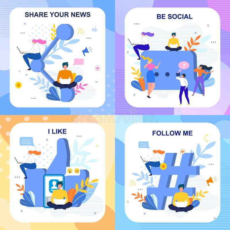 Plan social märka kortuppsättning i blom- stil vektor illustrationer