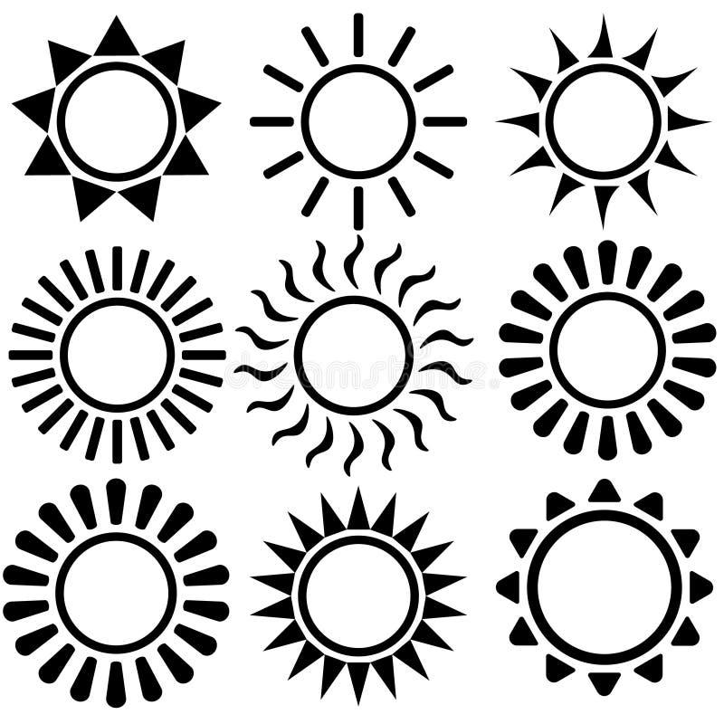 Plan solsymbol Solpictogram Moderiktigt vektorsommarsymbol f?r websitedesignen, reng?ringsdukknapp, mobil app mallvektorillustrat stock illustrationer