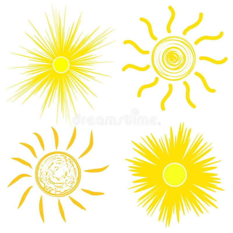 Plan solsymbol Solpictogram Moderiktigt vektorsommarsymbol f?r websitedesignen, reng?ringsdukknapp, mobil app mallvektorillustrat royaltyfri illustrationer