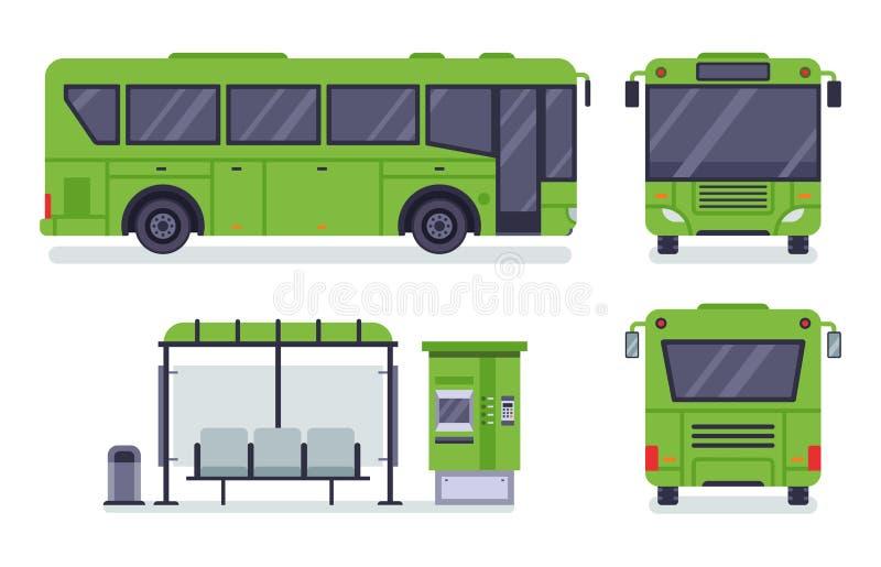 Plan stadsbuss Kollektivtrafikstopp, autobusbiljettkontor och uppsättning för bussvektorillustration stock illustrationer