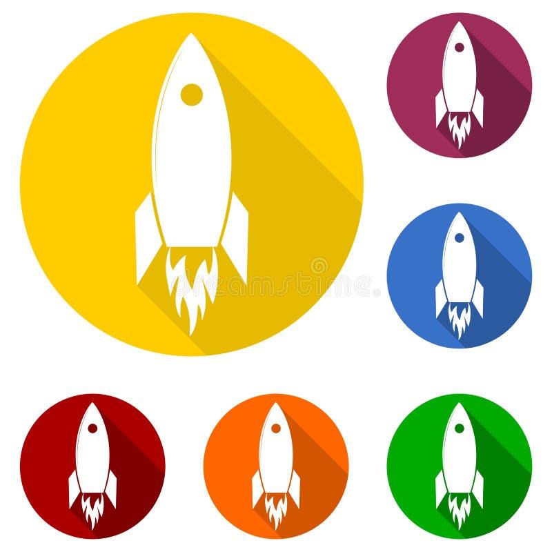 Plan Startup design för Rocket Beginning Fly Up Start affärsidésymbol och lång skugga vektor illustrationer