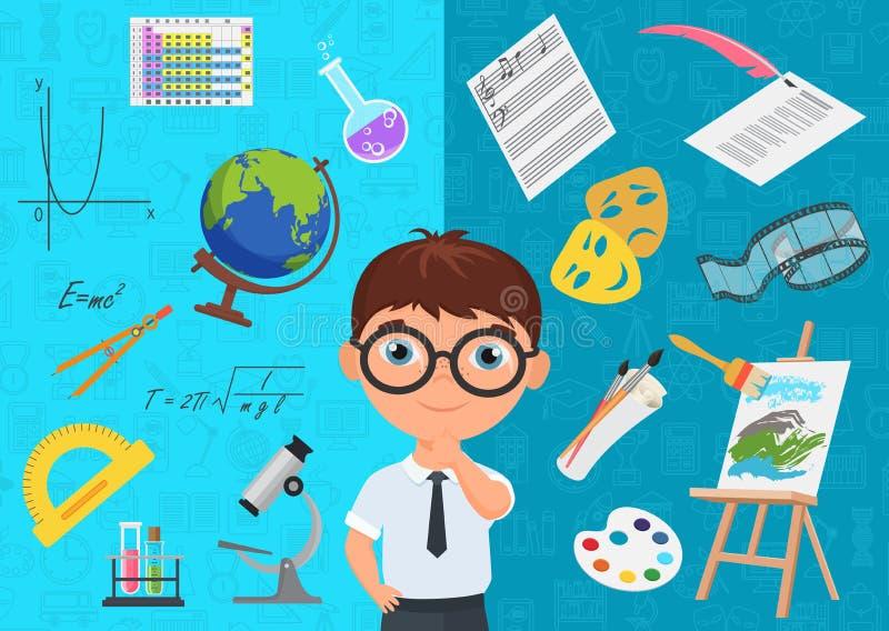 Plan stil av det flitiga skolpojketeckenet i exponeringsglas som omges med olika symboler av skolämnar på blått royaltyfri illustrationer