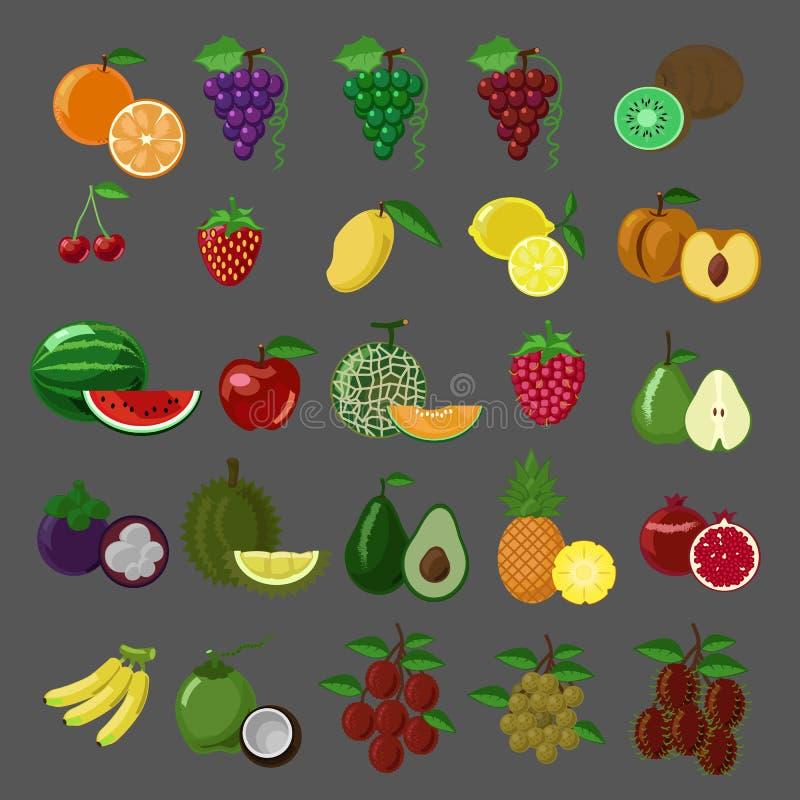 Plan stil bär frukt symbolsuppsättningen arkivfoto