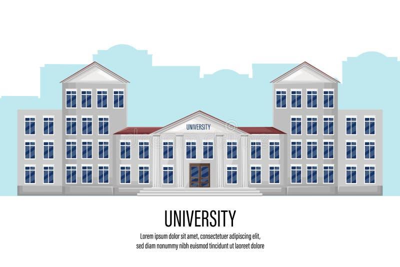 Plan stil för arkitektonisk fasaduniversitetvektor Byggnad som isoleras på vita främre sikter stock illustrationer